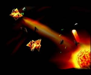 Screen shot of the arcade game Asteroids