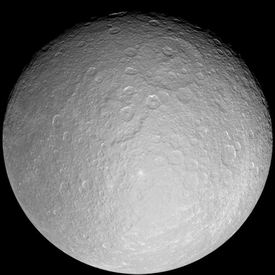 Photo of the satellite Rhea of the planet Saturn